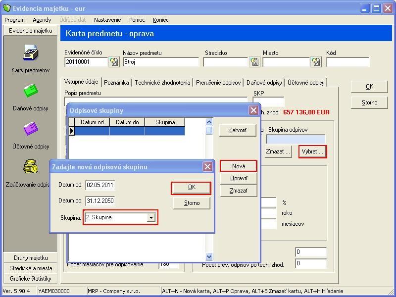 Zaradenie Karty Predmetu Do Programu Evidencia Majetku Vizualny System